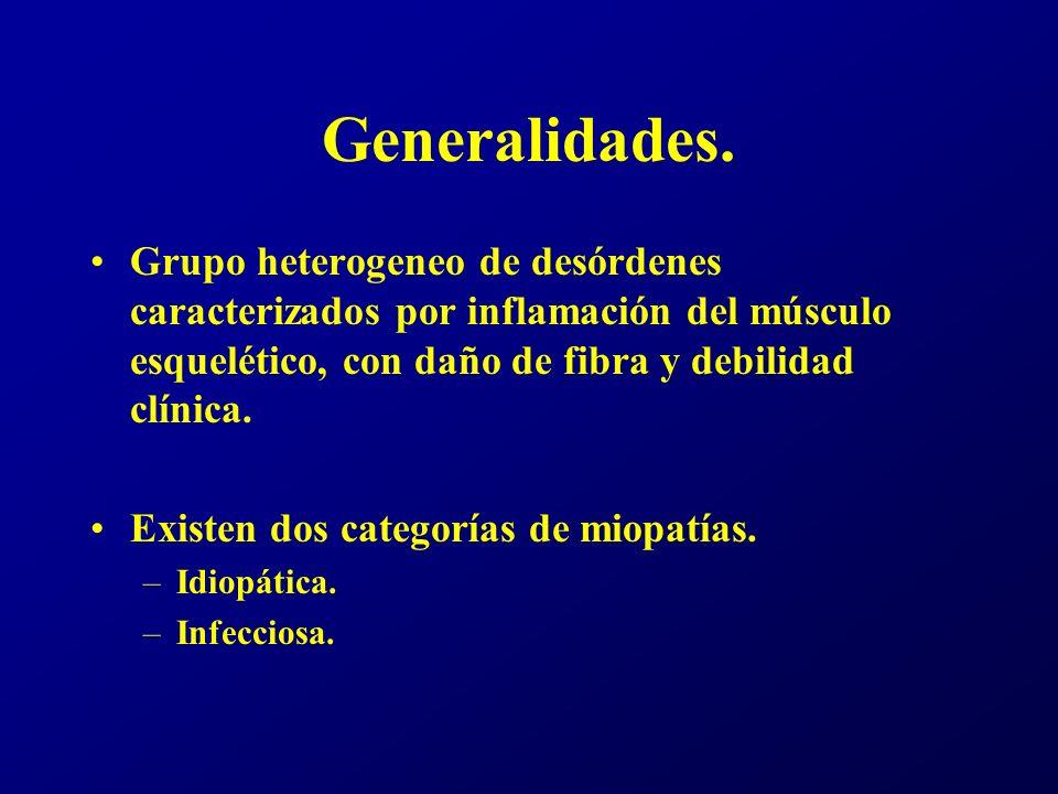 Generalidades. Grupo heterogeneo de desórdenes caracterizados por inflamación del músculo esquelético, con daño de fibra y debilidad clínica.