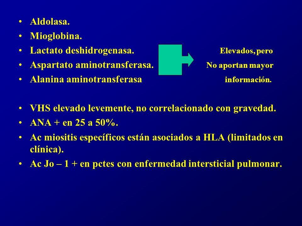 Aldolasa. Mioglobina. Lactato deshidrogenasa. Elevados, pero.
