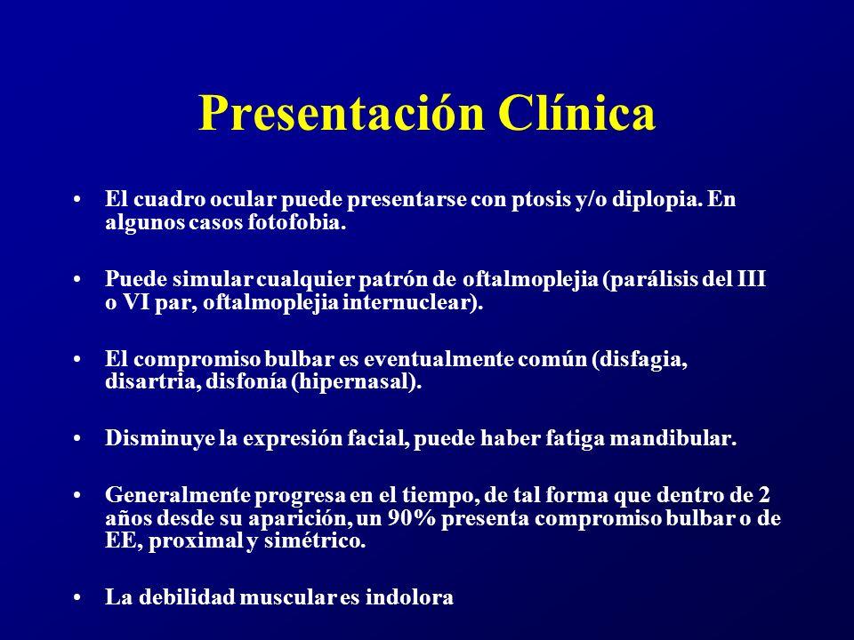 Presentación Clínica El cuadro ocular puede presentarse con ptosis y/o diplopia. En algunos casos fotofobia.