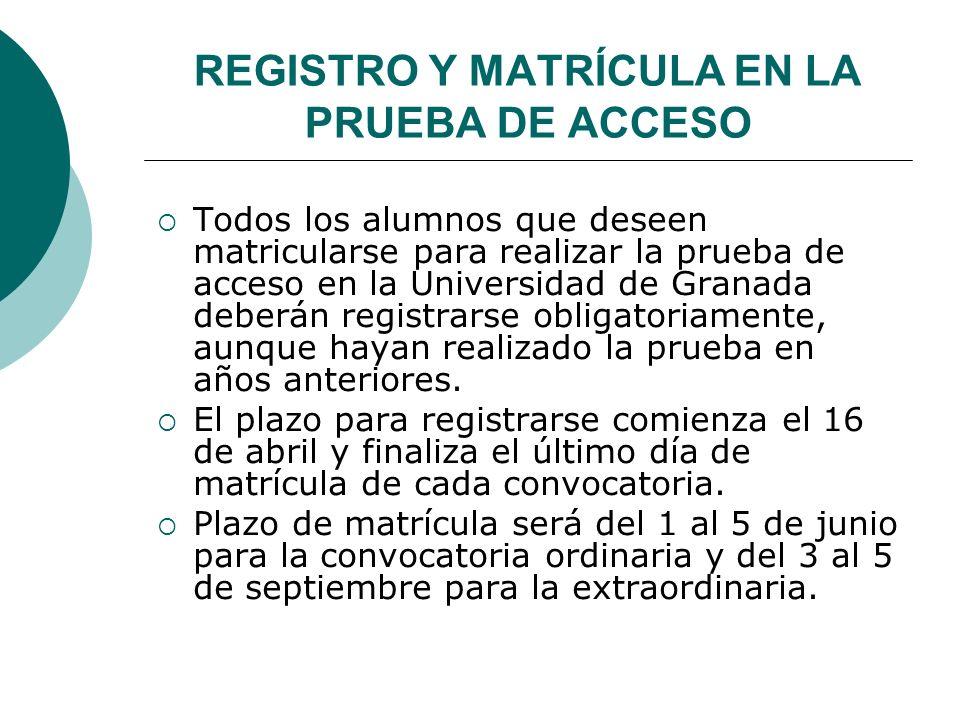 REGISTRO Y MATRÍCULA EN LA PRUEBA DE ACCESO