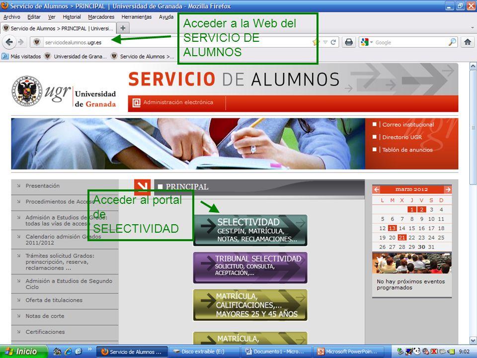 Acceder a la Web del SERVICIO DE ALUMNOS