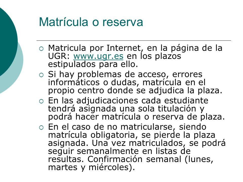Matrícula o reserva Matricula por Internet, en la página de la UGR: www.ugr.es en los plazos estipulados para ello.