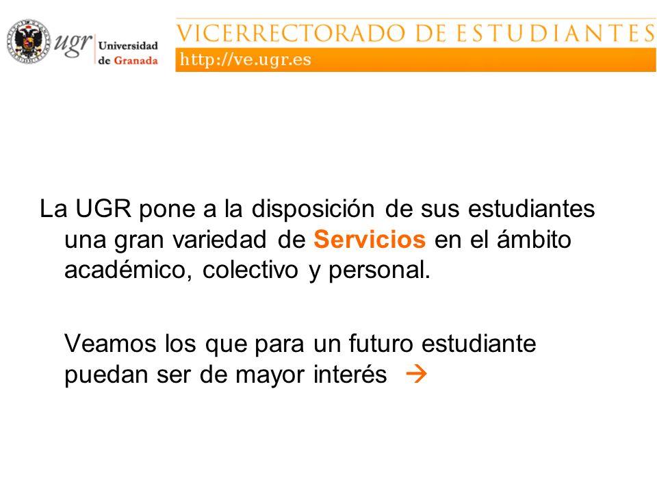 La UGR pone a la disposición de sus estudiantes una gran variedad de Servicios en el ámbito académico, colectivo y personal.