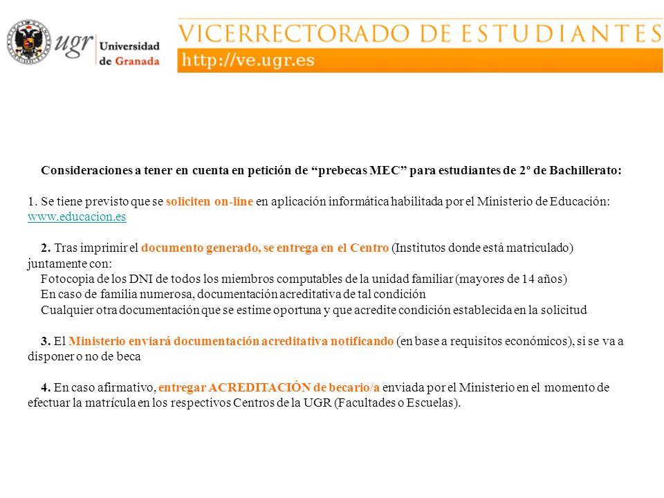 Consideraciones a tener en cuenta en petición de prebecas MEC para estudiantes de 2º de Bachillerato: