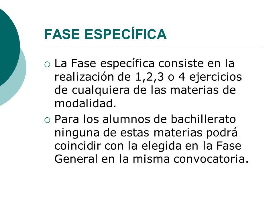 FASE ESPECÍFICA La Fase específica consiste en la realización de 1,2,3 o 4 ejercicios de cualquiera de las materias de modalidad.