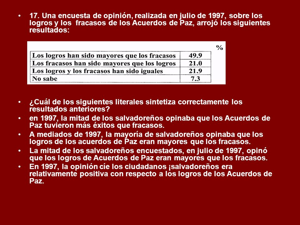 17. Una encuesta de opinión, realizada en julio de 1997, sobre los logros y los fracasos de los Acuerdos de Paz, arrojó los siguientes resultados: