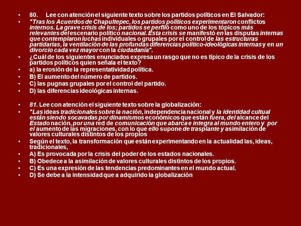 80. Lee con atención el siguiente texto sobre los partidos políticos en El Salvador: