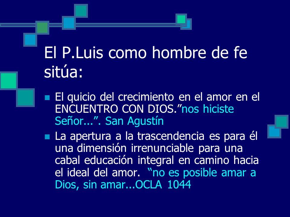 El P.Luis como hombre de fe sitúa: