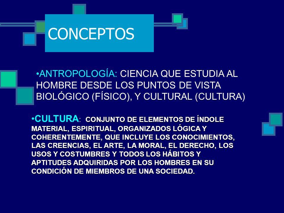 CONCEPTOS ANTROPOLOGÍA: CIENCIA QUE ESTUDIA AL HOMBRE DESDE LOS PUNTOS DE VISTA BIOLÓGICO (FÍSICO), Y CULTURAL (CULTURA)