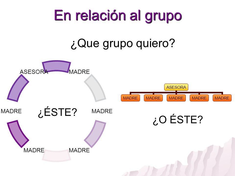 En relación al grupo ¿Que grupo quiero ¿ÉSTE ¿O ÉSTE