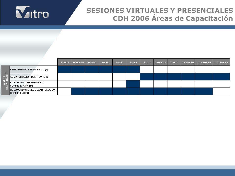 SESIONES VIRTUALES Y PRESENCIALES CDH 2006 Áreas de Capacitación