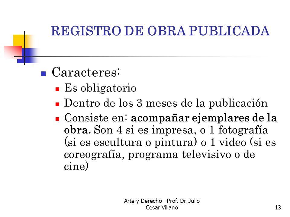 REGISTRO DE OBRA PUBLICADA
