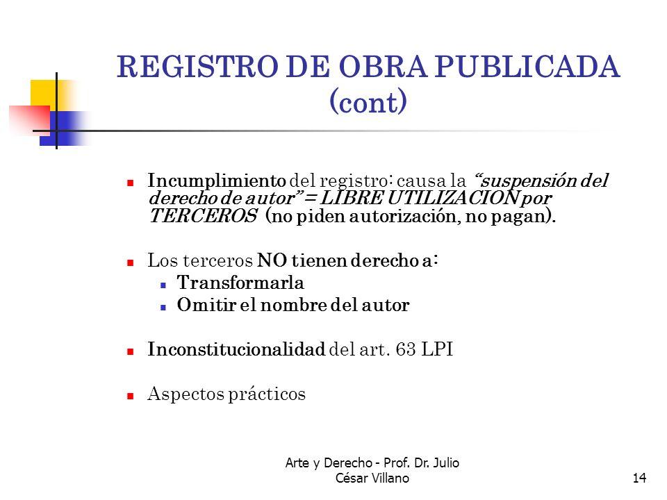 REGISTRO DE OBRA PUBLICADA (cont)