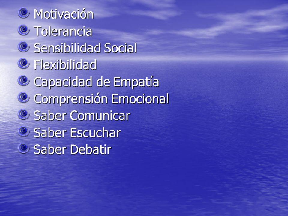 Motivación Tolerancia. Sensibilidad Social. Flexibilidad. Capacidad de Empatía. Comprensión Emocional.
