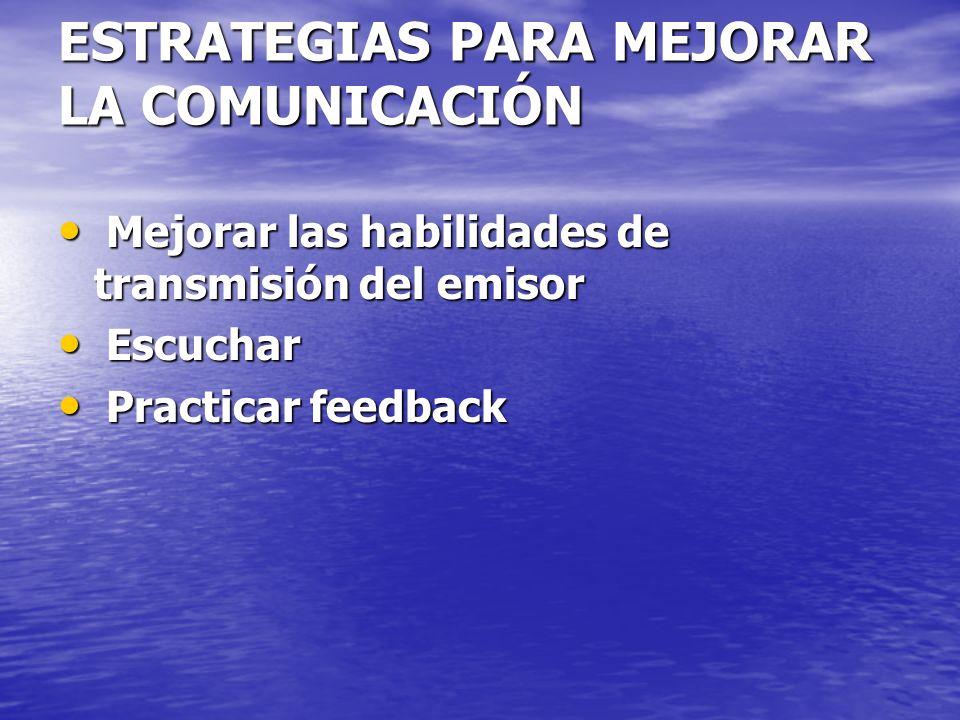 ESTRATEGIAS PARA MEJORAR LA COMUNICACIÓN