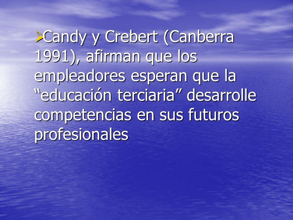 Candy y Crebert (Canberra 1991), afirman que los empleadores esperan que la educación terciaria desarrolle competencias en sus futuros profesionales