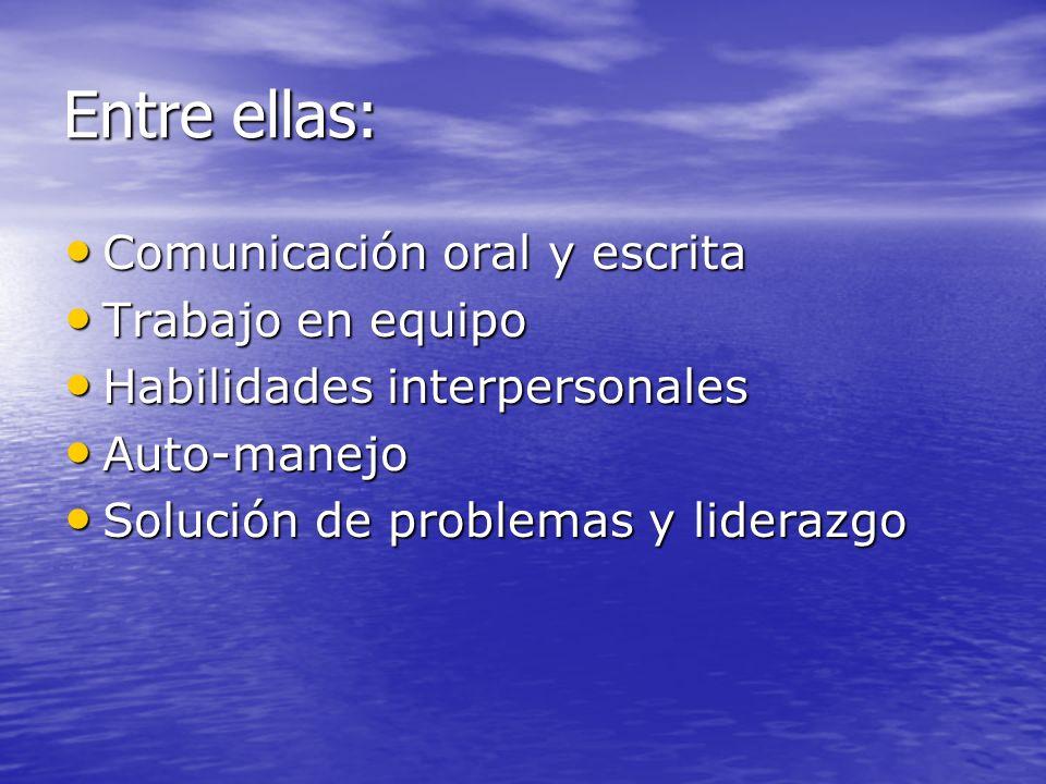 Entre ellas: Comunicación oral y escrita Trabajo en equipo