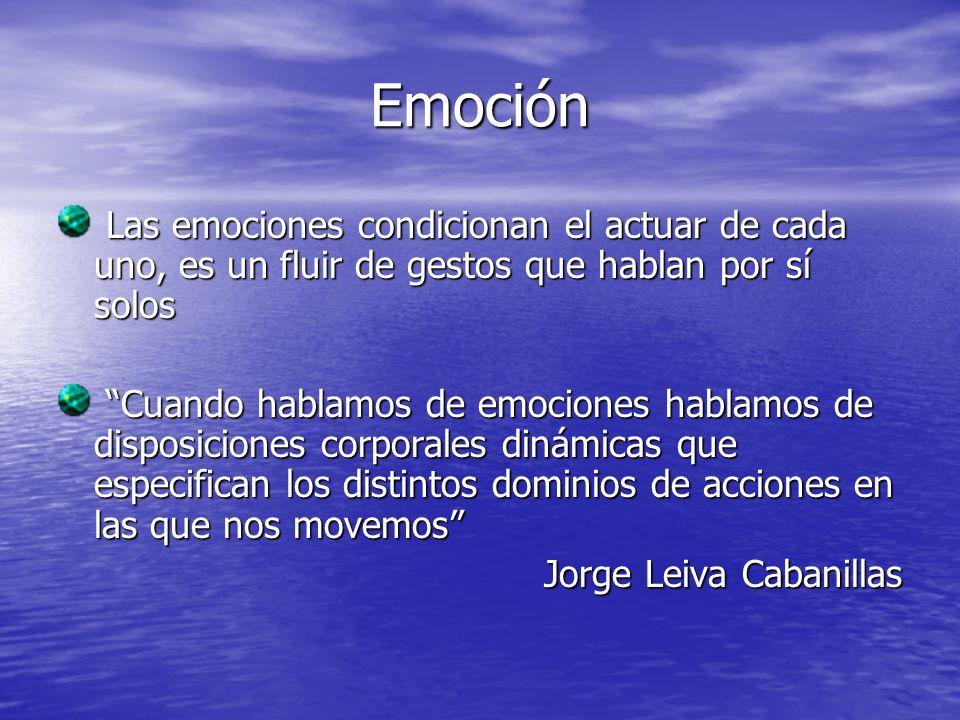 Emoción Las emociones condicionan el actuar de cada uno, es un fluir de gestos que hablan por sí solos.