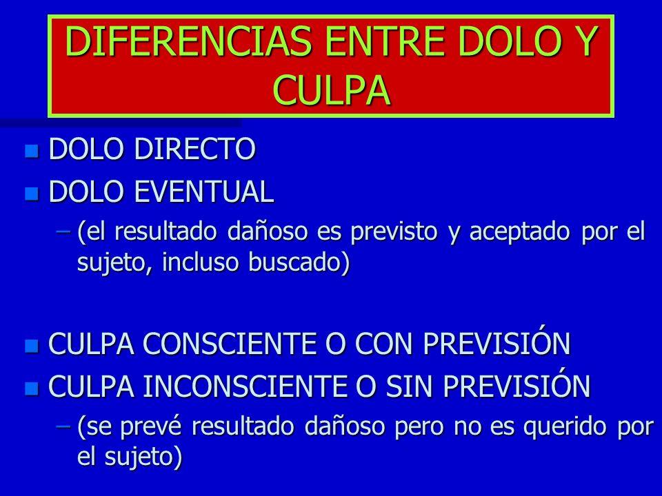 DIFERENCIAS ENTRE DOLO Y CULPA
