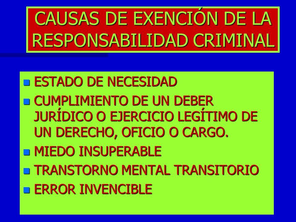 CAUSAS DE EXENCIÓN DE LA RESPONSABILIDAD CRIMINAL