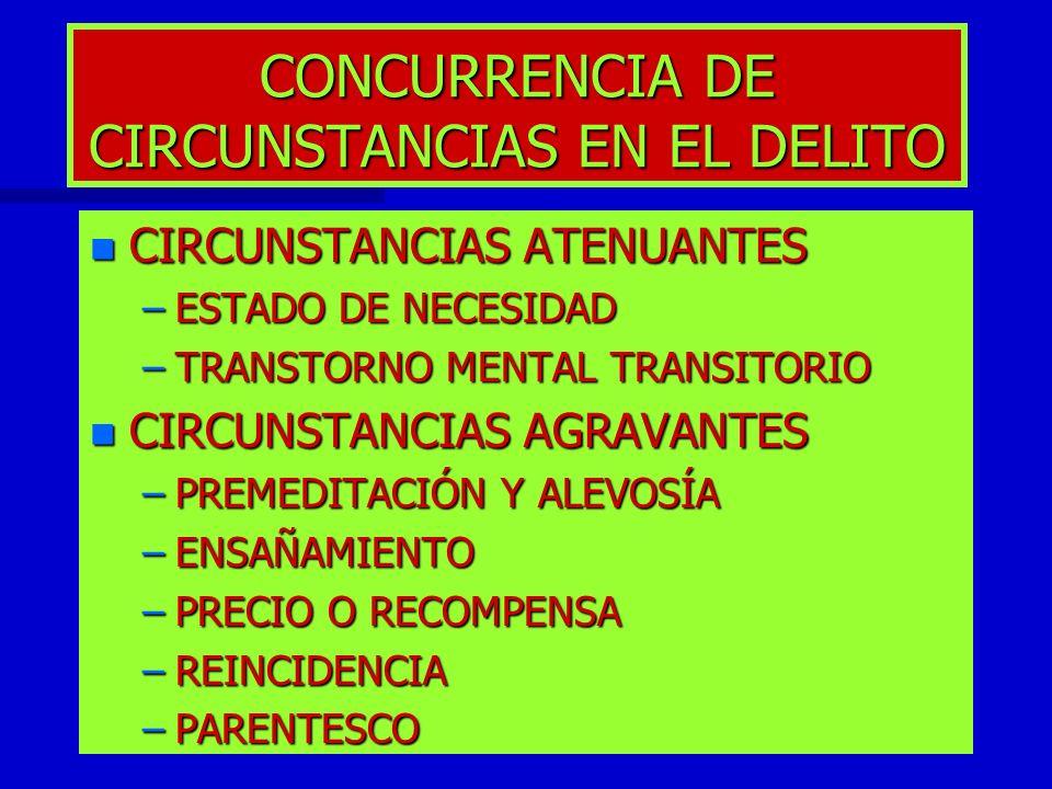 CONCURRENCIA DE CIRCUNSTANCIAS EN EL DELITO