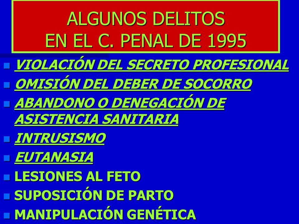 ALGUNOS DELITOS EN EL C. PENAL DE 1995