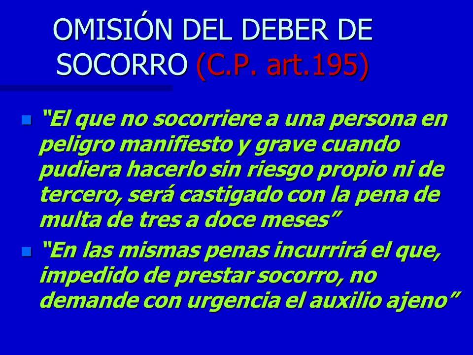 OMISIÓN DEL DEBER DE SOCORRO (C.P. art.195)
