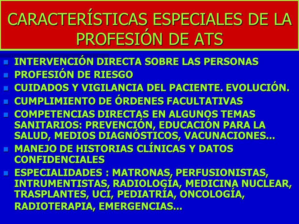 CARACTERÍSTICAS ESPECIALES DE LA PROFESIÓN DE ATS