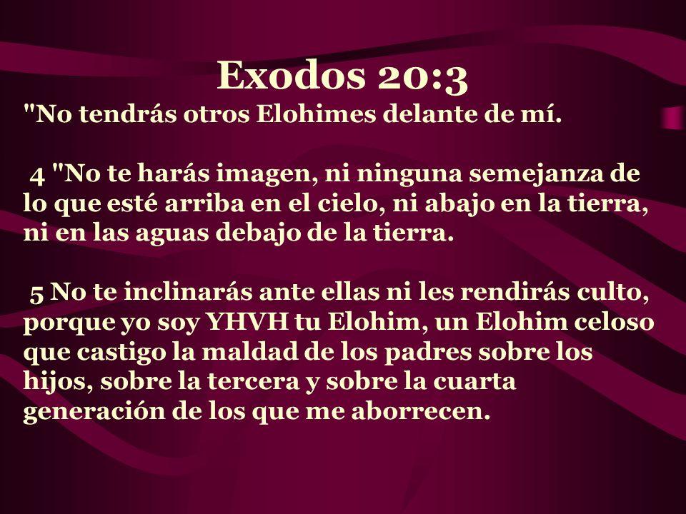 Exodos 20:3 No tendrás otros Elohimes delante de mí.