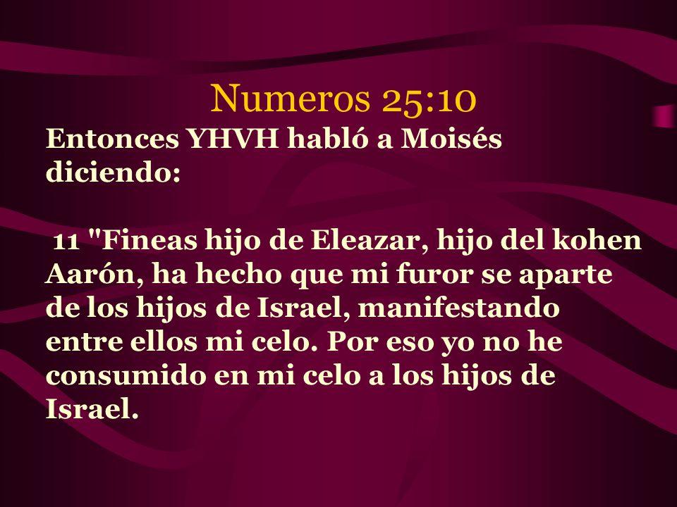 Numeros 25:10 Entonces YHVH habló a Moisés diciendo:
