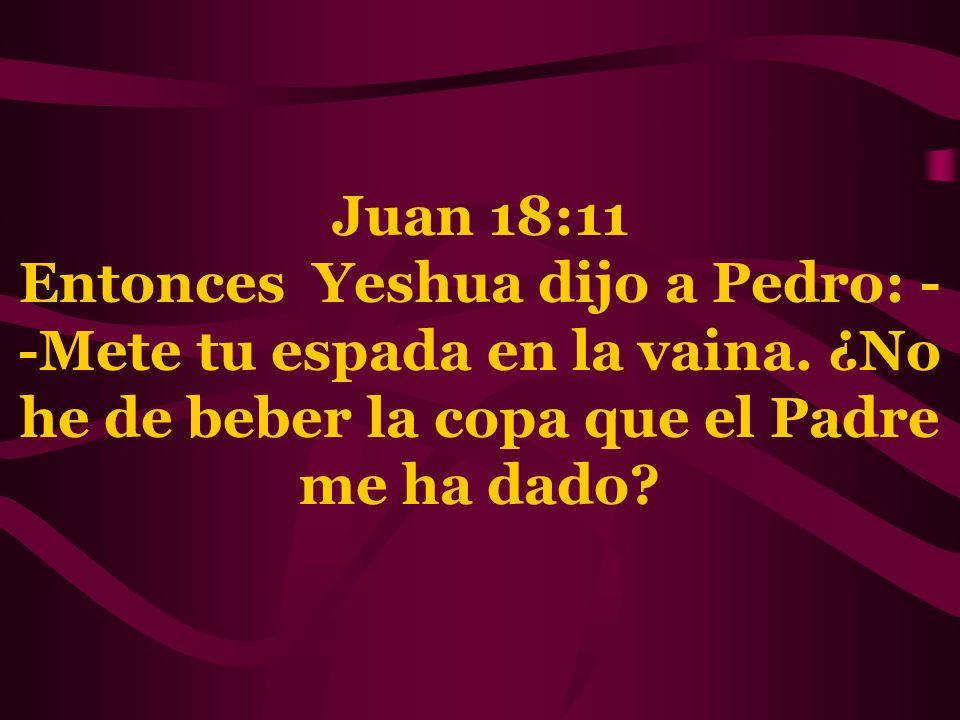 Juan 18:11 Entonces Yeshua dijo a Pedro: --Mete tu espada en la vaina.