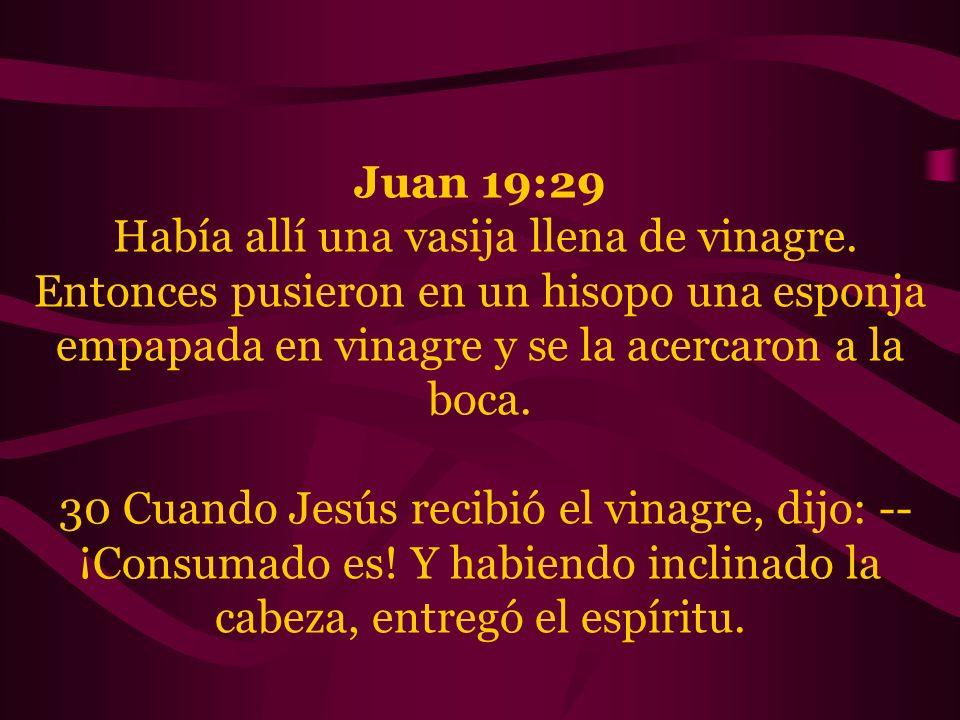 Juan 19:29 Había allí una vasija llena de vinagre. Entonces pusieron en un hisopo una esponja empapada en vinagre y se la acercaron a la boca.