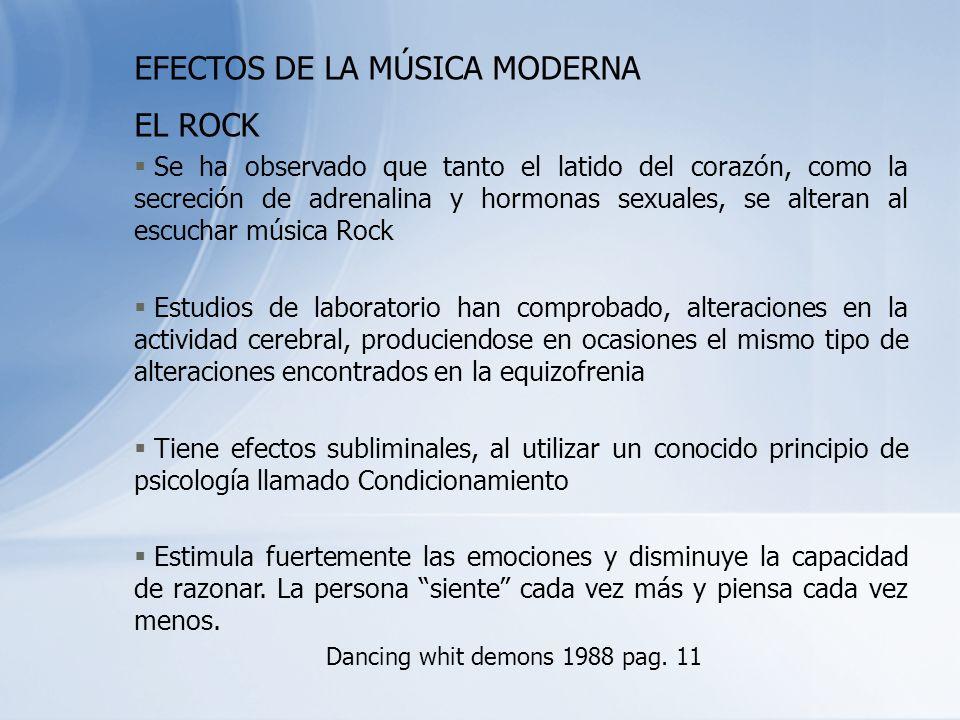 EFECTOS DE LA MÚSICA MODERNA EL ROCK