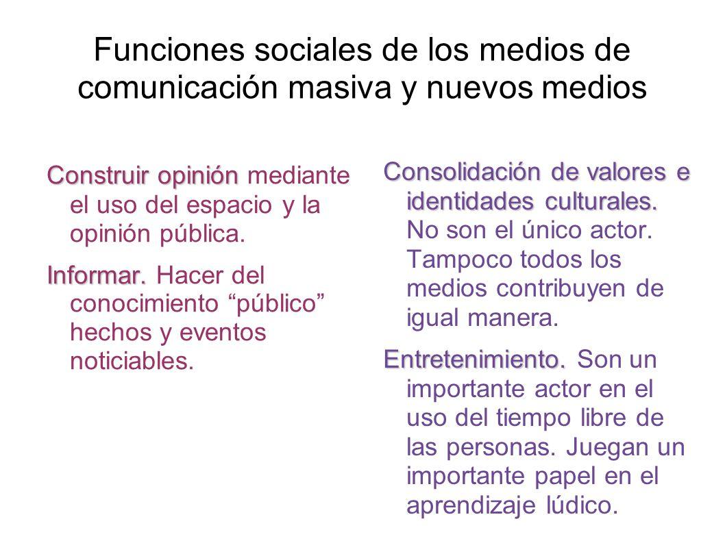 Funciones sociales de los medios de comunicación masiva y nuevos medios