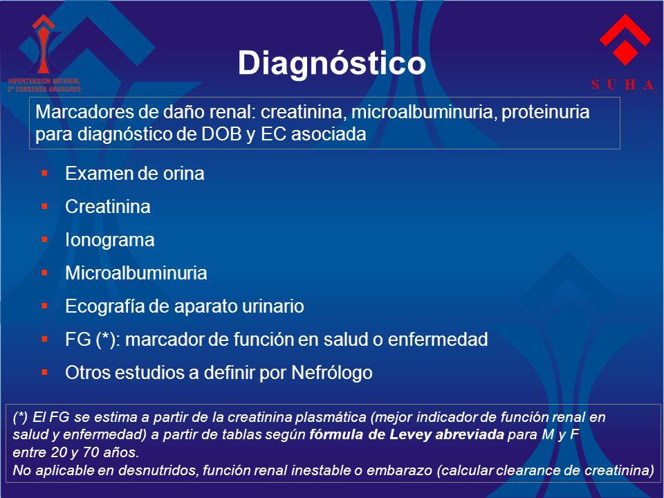 Diagnóstico S U H A. Marcadores de daño renal: creatinina, microalbuminuria, proteinuria. para diagnóstico de DOB y EC asociada.