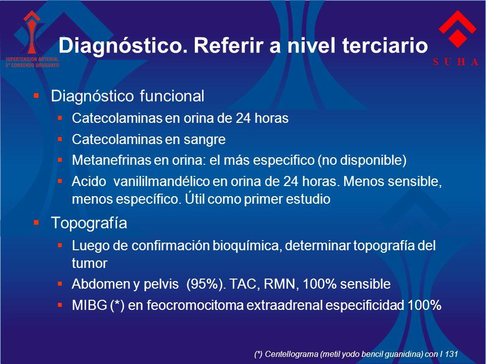 Diagnóstico. Referir a nivel terciario