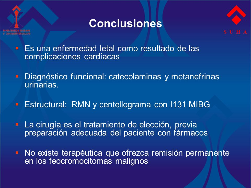 ConclusionesS U H A. Es una enfermedad letal como resultado de las complicaciones cardíacas.