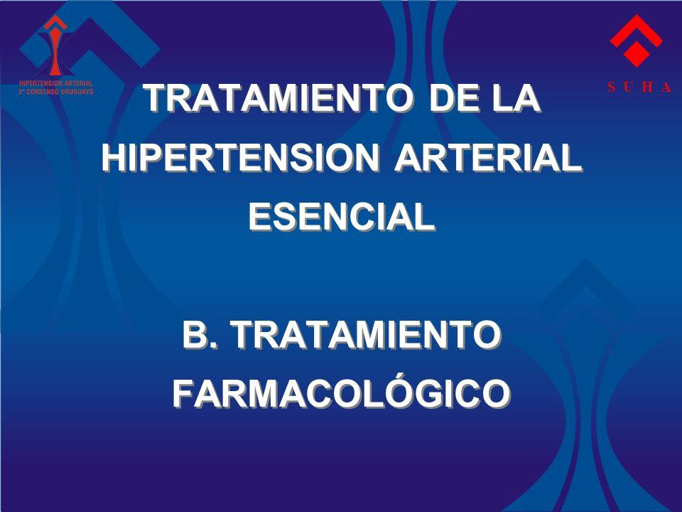 S U H A TRATAMIENTO DE LA HIPERTENSION ARTERIAL ESENCIAL B. TRATAMIENTO FARMACOLÓGICO