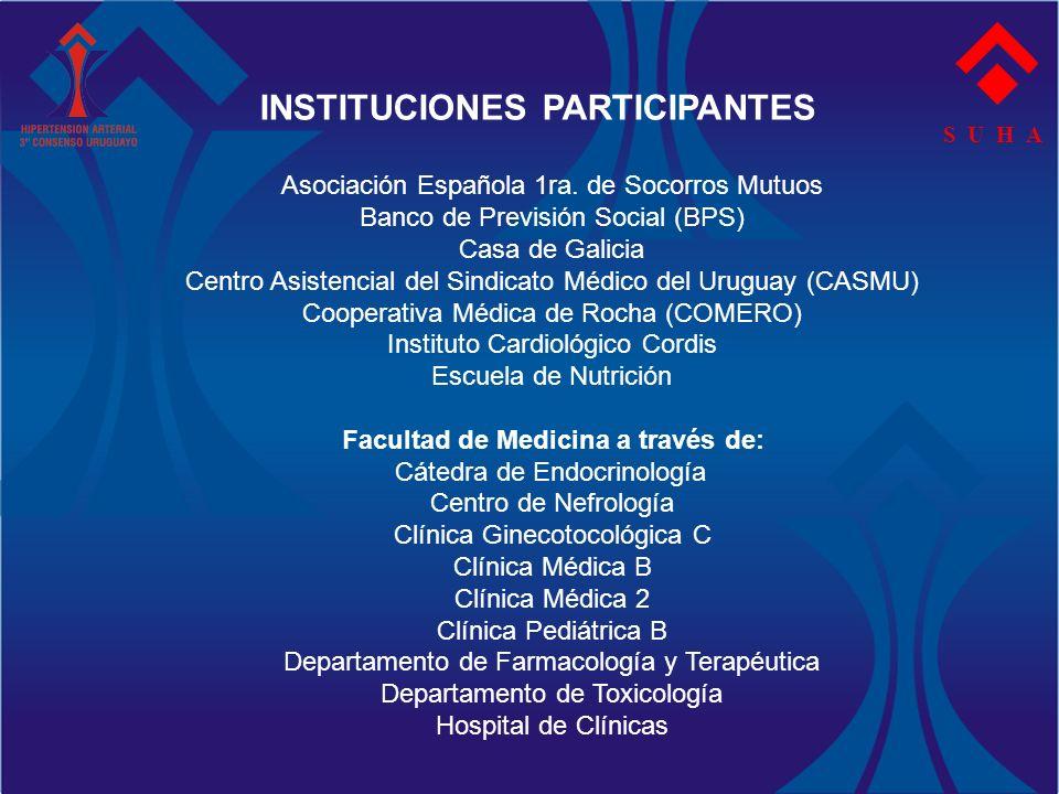 INSTITUCIONES PARTICIPANTES Facultad de Medicina a través de: