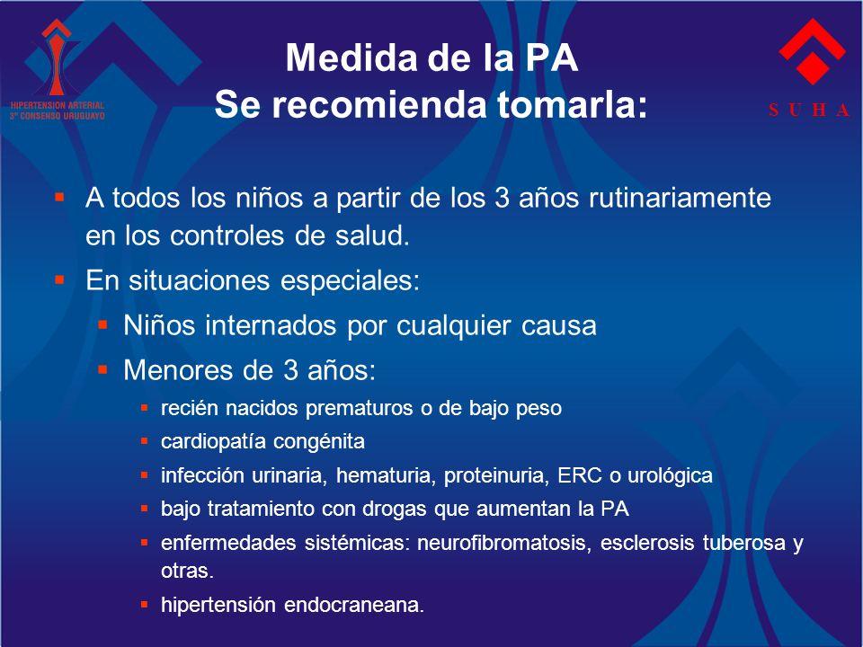 Medida de la PA Se recomienda tomarla: