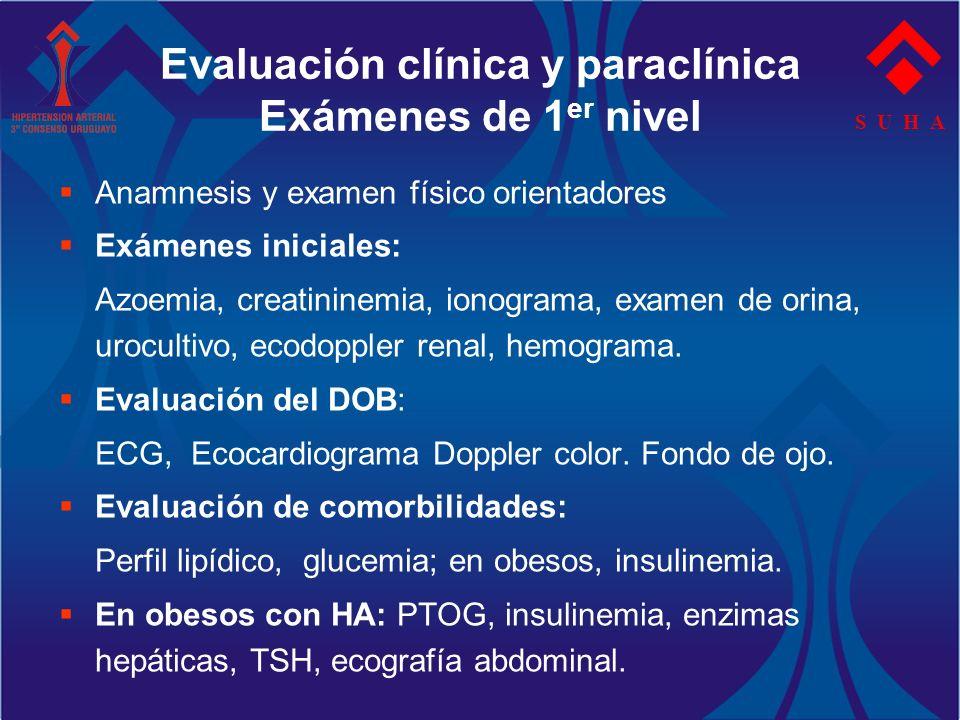 Evaluación clínica y paraclínica Exámenes de 1er nivel