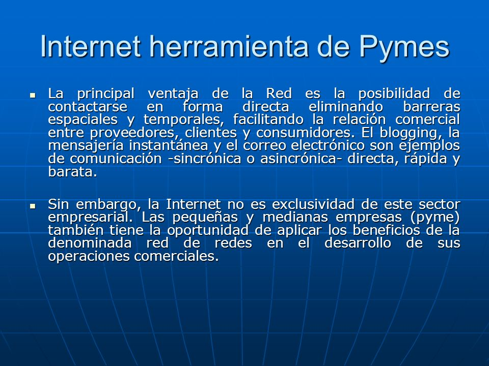 Internet herramienta de Pymes