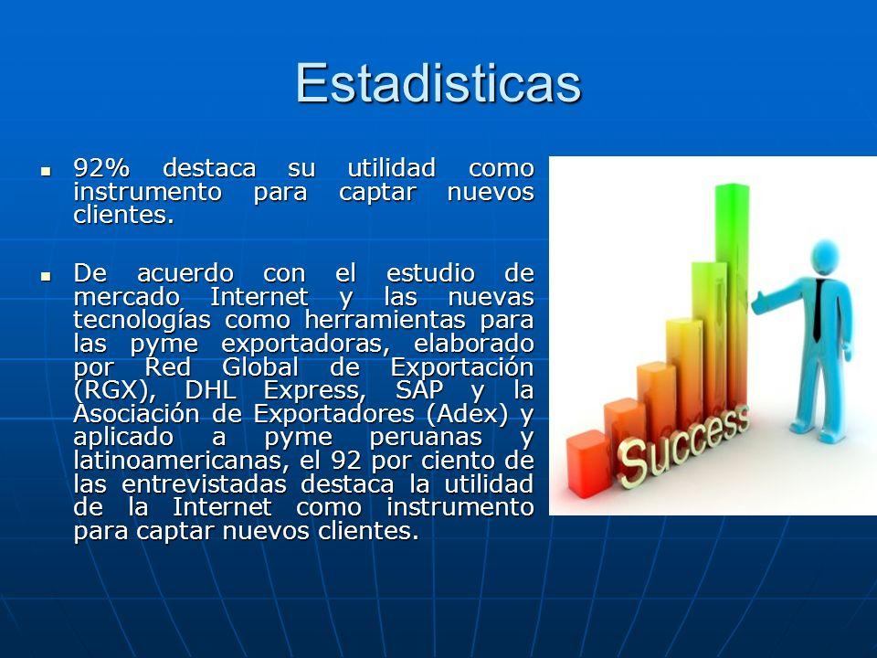 Estadisticas92% destaca su utilidad como instrumento para captar nuevos clientes.