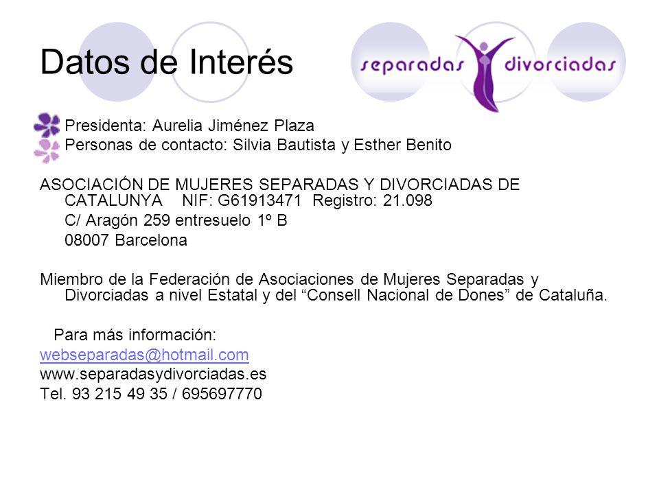 Datos de Interés Presidenta: Aurelia Jiménez Plaza
