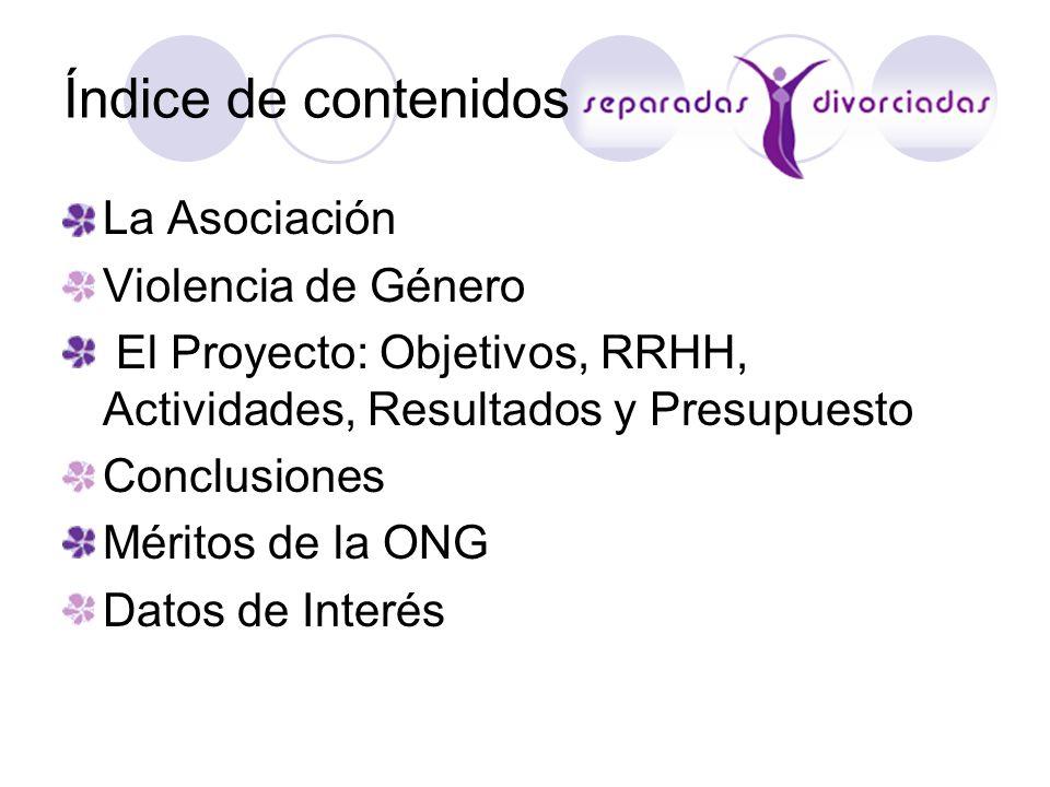 Índice de contenidos La Asociación Violencia de Género