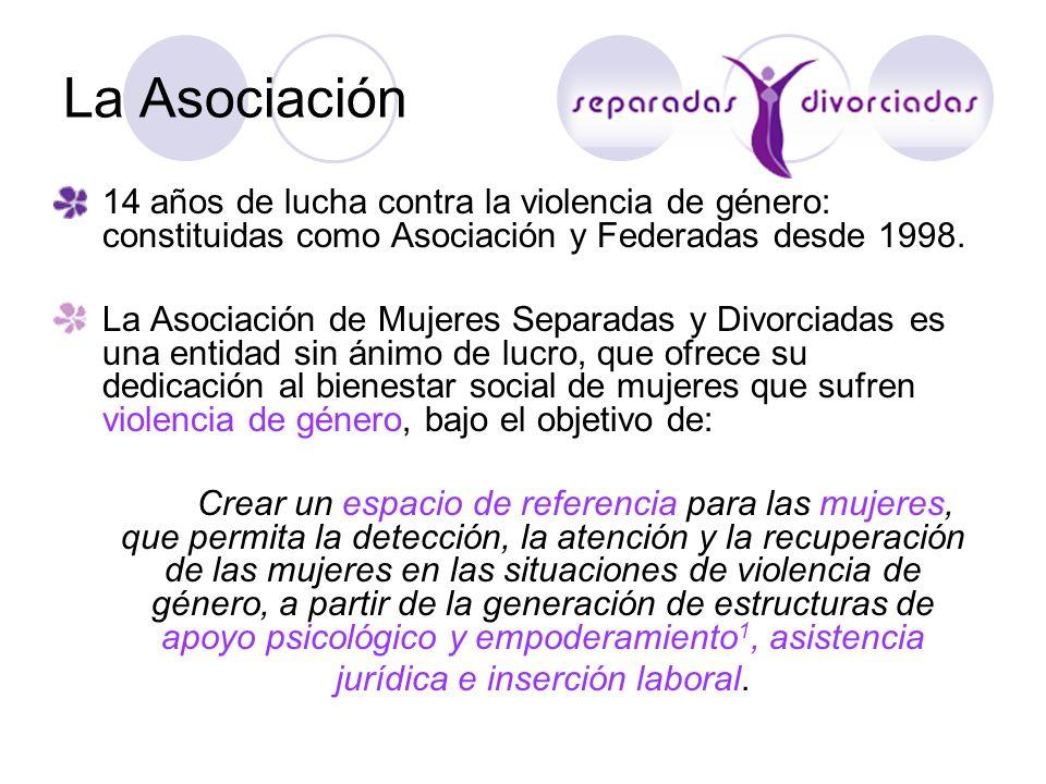 La Asociación14 años de lucha contra la violencia de género: constituidas como Asociación y Federadas desde 1998.