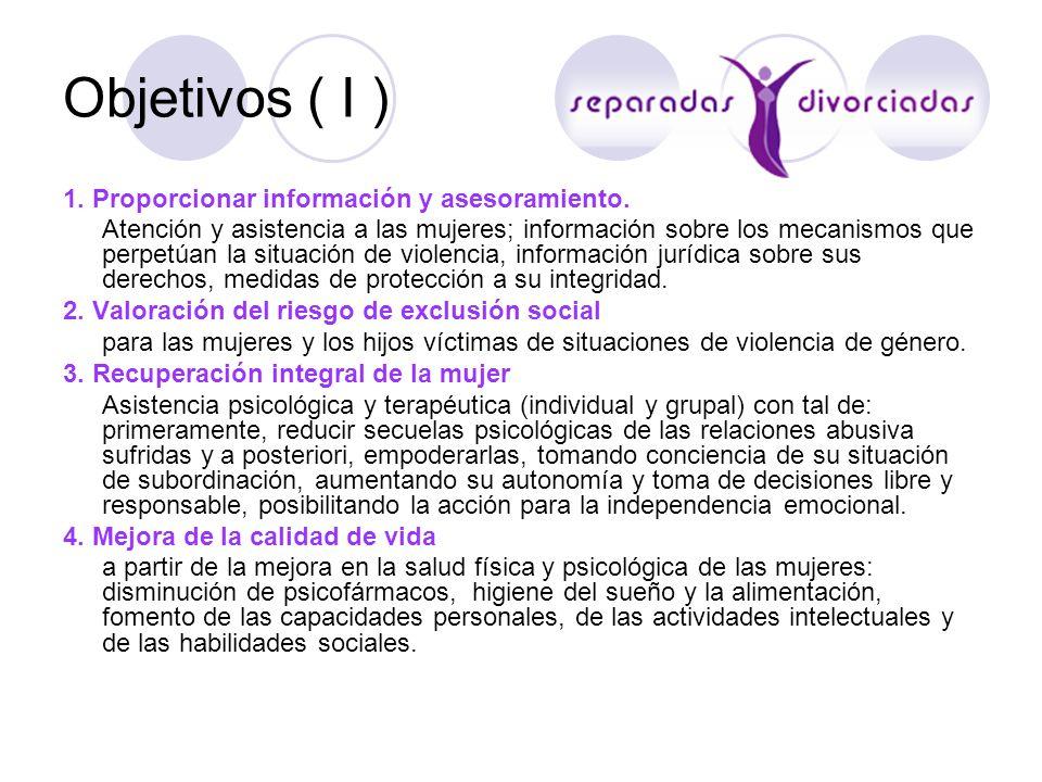 Objetivos ( I ) 1. Proporcionar información y asesoramiento.