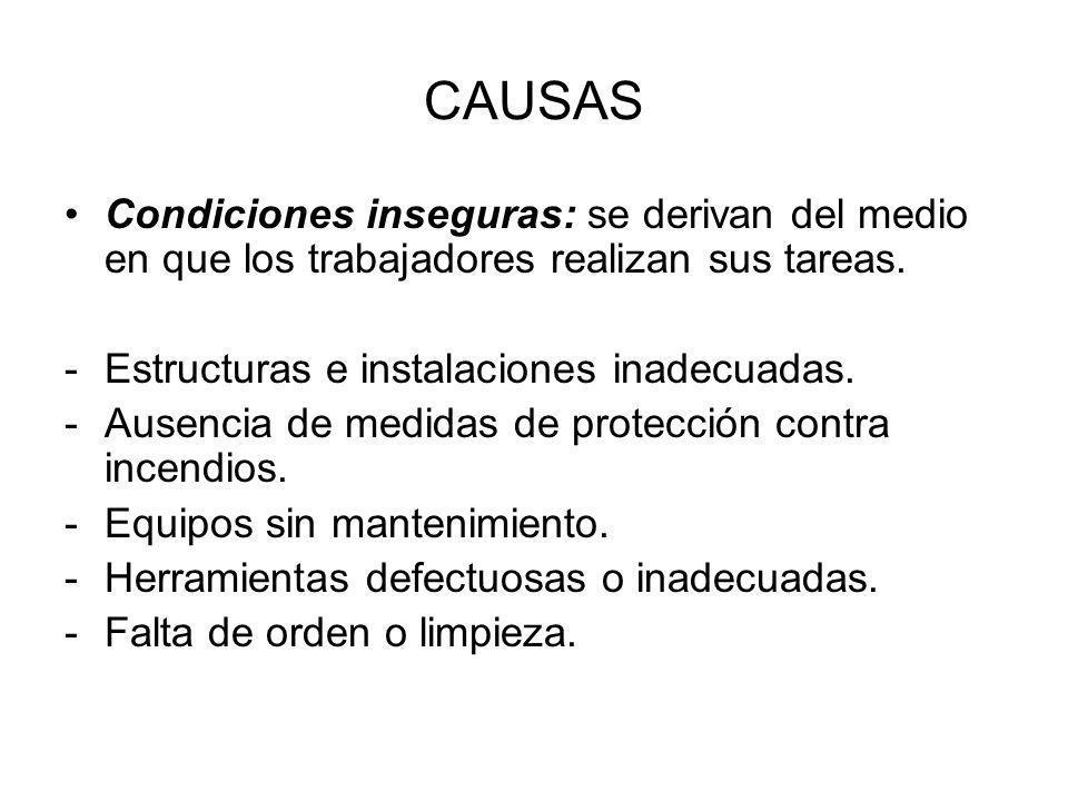 CAUSAS Condiciones inseguras: se derivan del medio en que los trabajadores realizan sus tareas. Estructuras e instalaciones inadecuadas.
