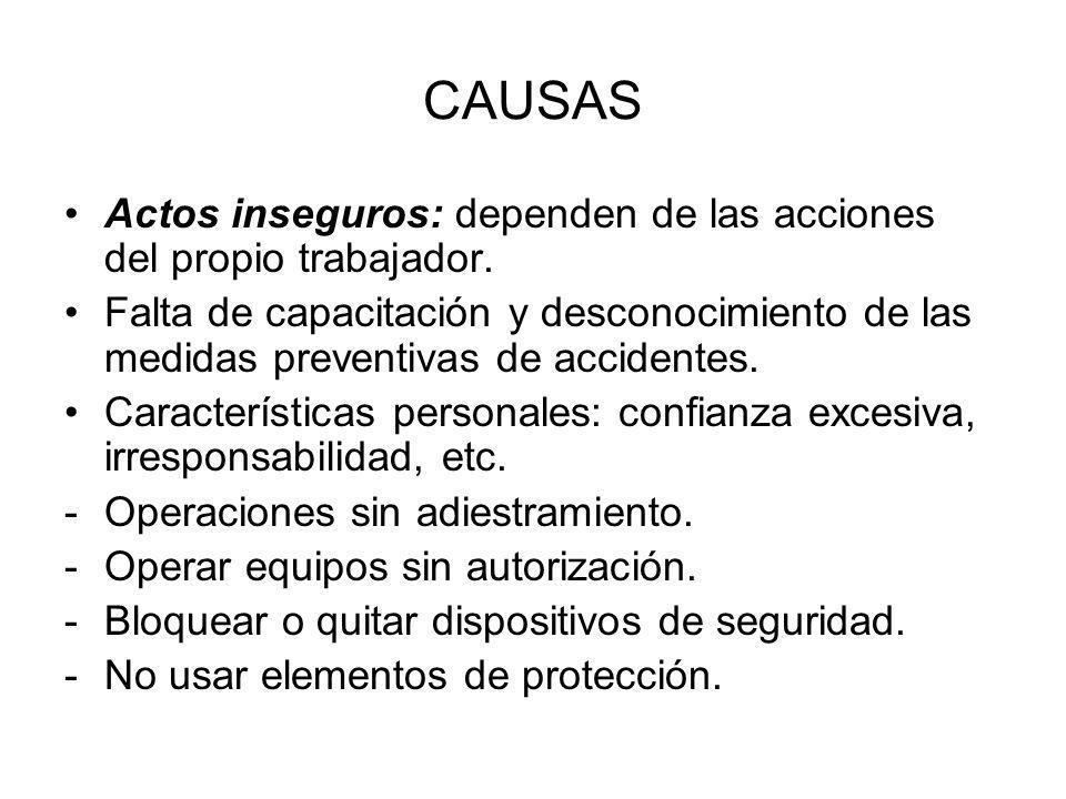 CAUSAS Actos inseguros: dependen de las acciones del propio trabajador.