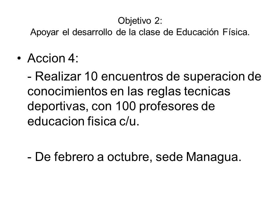 Objetivo 2: Apoyar el desarrollo de la clase de Educación Física.